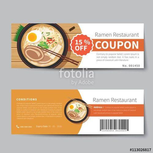 "japanese food coupon discount template flat design"" Stock image ..."