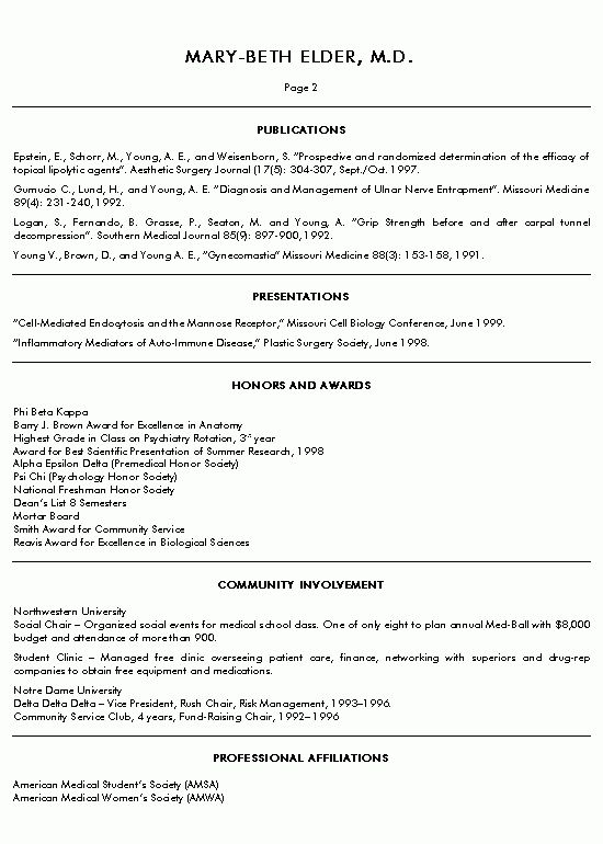 Medical Doctor Resume Example - Sample