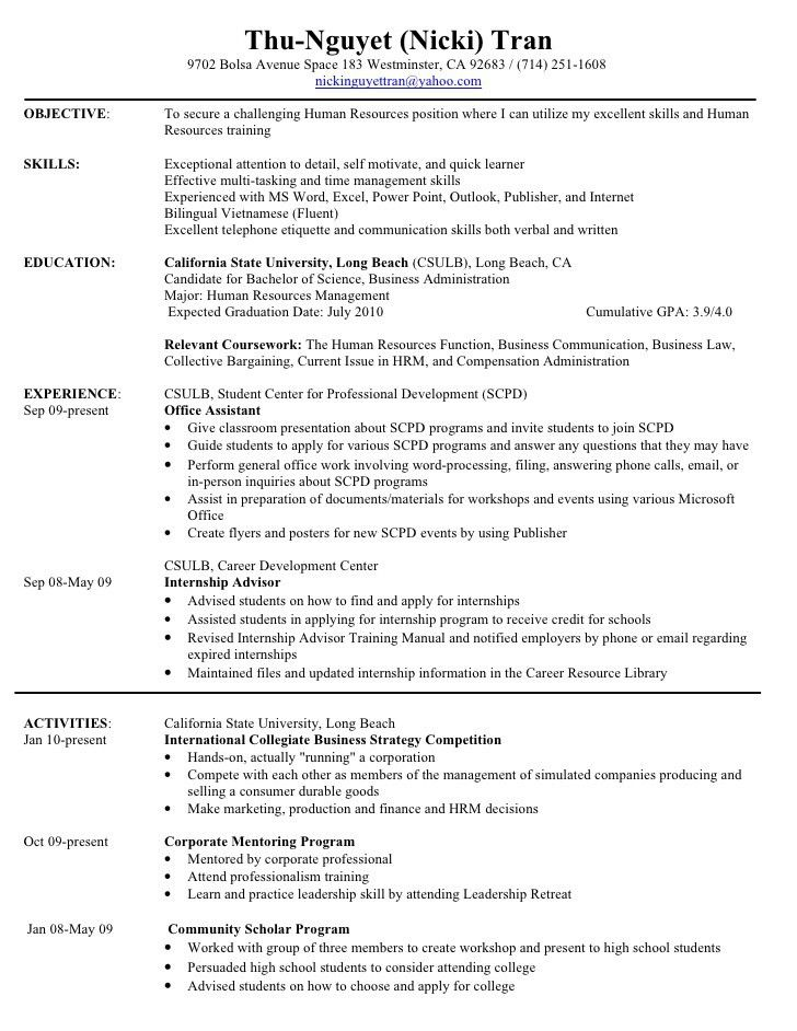 Pretty Looking Hr Intern Resume 6 Write Internship In Cv Ahoy ...