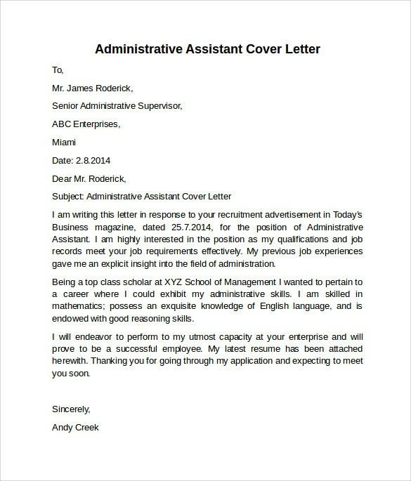 Sample cover letter for hr administrative assistant