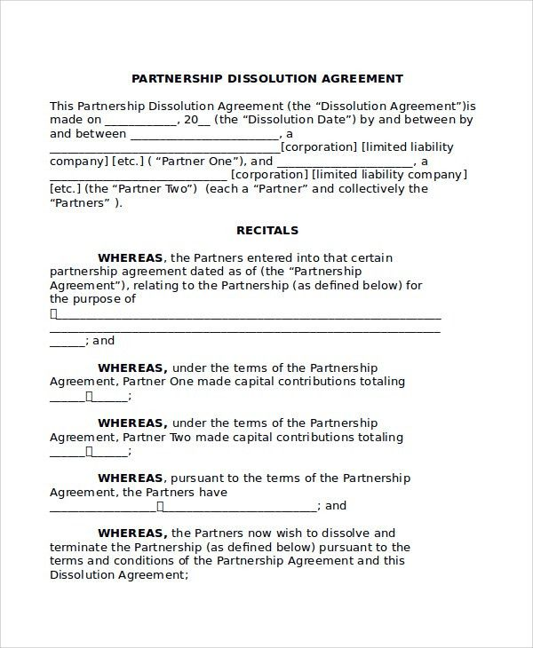 Sample Partnership Dissolution Agreement Templates - 7+ Free ...
