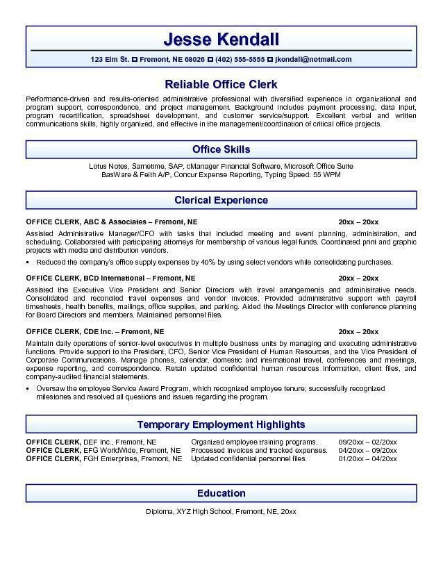 Entry-Level Office Clerk Resume Samples : Vinodomia