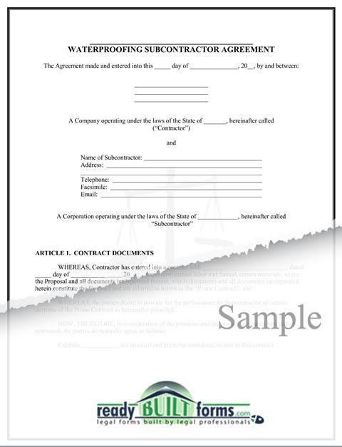 Subcontractor – Waterproofing Agreement - Download Now