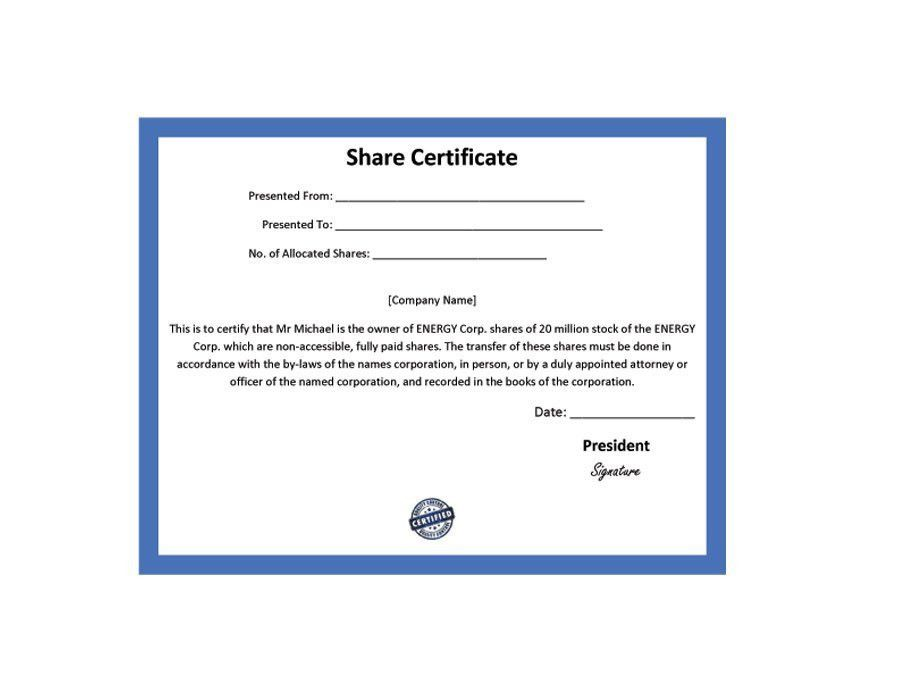 Corporate certificate template 27 word certificate templates free 40 free stock certificate templates word pdf template lab yadclub Choice Image