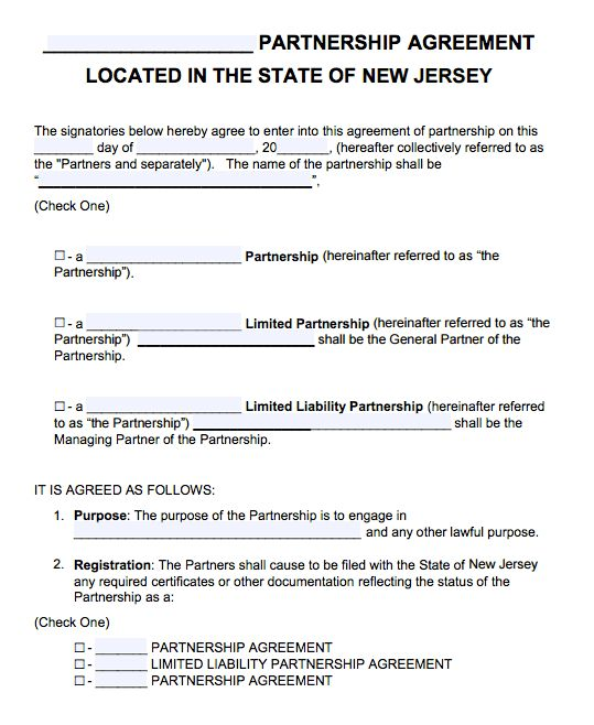 Free New Jersey Partnership Agreement Template | PDF | Word |