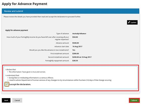 Apply for an advance payment with your Centrelink online account ...