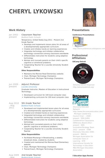 Classroom Teacher Resume samples - VisualCV resume samples database