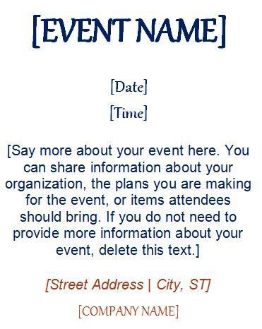 Event Invitation Template (4 Per Page) | Formal Word Templates