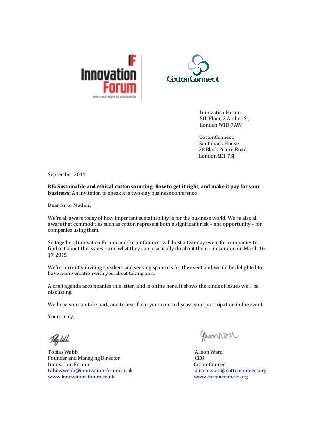 Invitation letter march 16-17 2015 sustainable cotton forum london