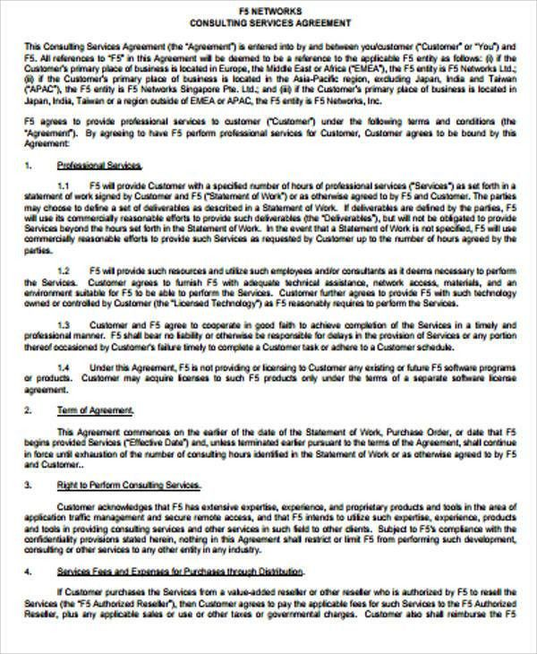 Simple Consulting Agreement Samples   6+ Examples In Word, PDF