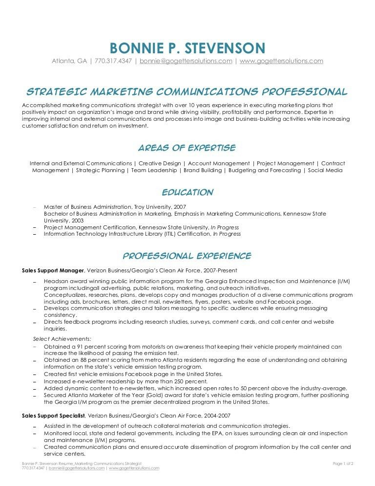 Bonnie Stevenson - Marketing Communications Strategist Resume