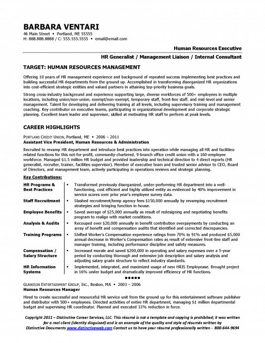 Human Resources Resume Samples - Resume Sample