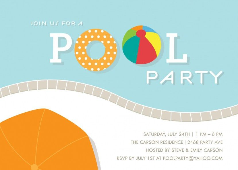 pool party invitation template word - Template