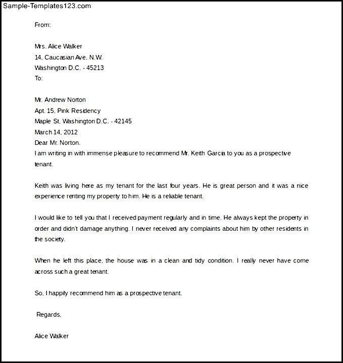 Tenant Recommendation Letter. Tenant Letter Of Recommendation Best ...