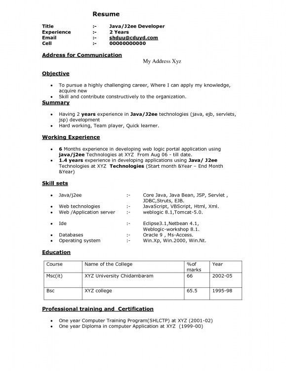 oracle j2ee java developer resume samples. it resume format ...