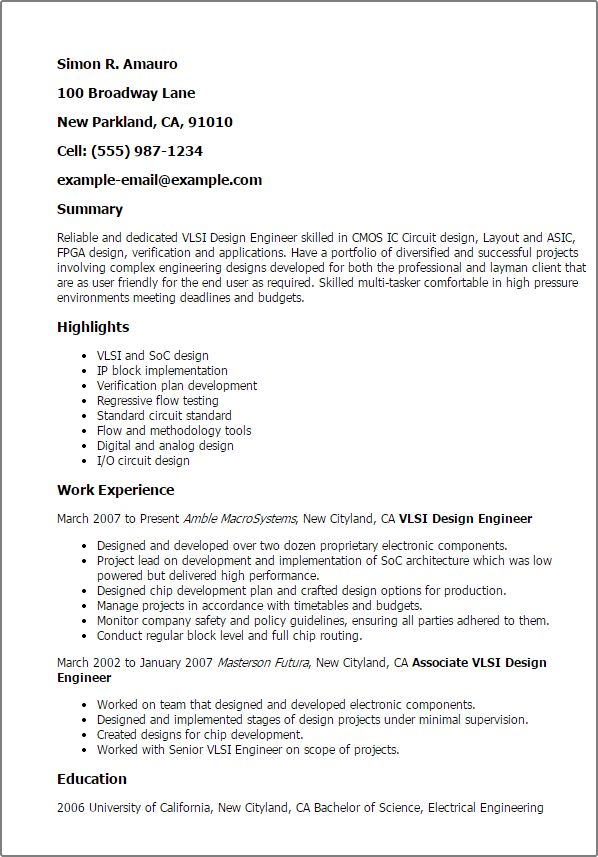 Asic Design Engineer Sample Resume | haadyaooverbayresort.com