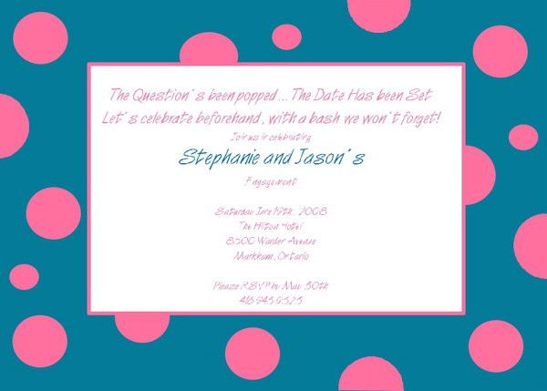 Fun Engagement Party Invitation Wording | Blue Dots Engagement ...
