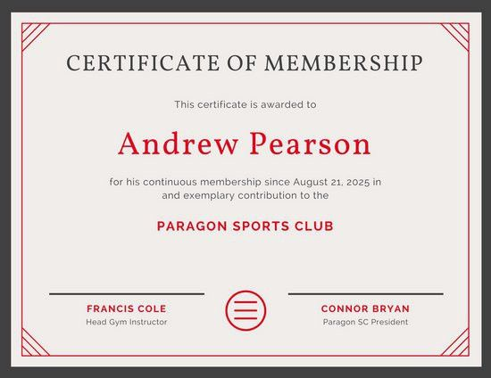 Red Line Border Sports Membership Certificate - Templates by Canva