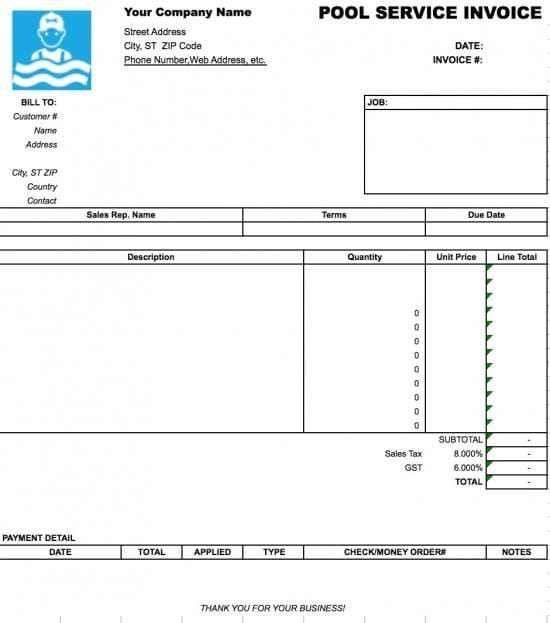 Free Pool Service Invoice Template | Excel | PDF | Word (.doc)