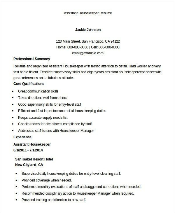 Housekeeping Resume Example - 9+ Free Word, PDF Documents Download ...