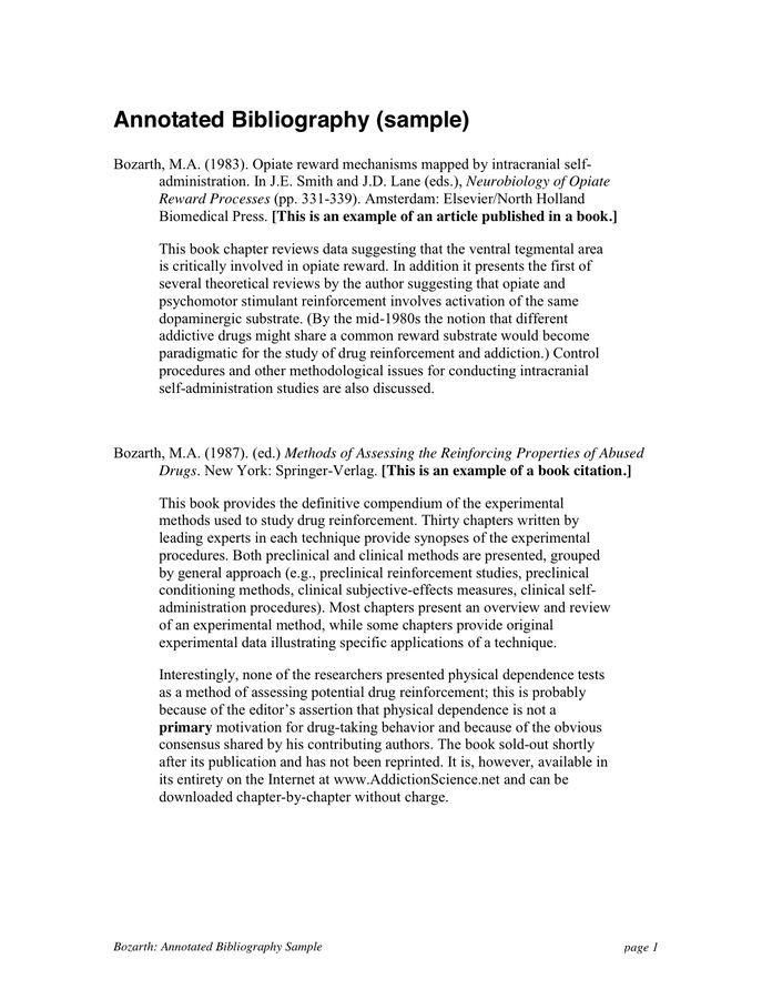 Annotated Bibliography Sample in Word and Pdf formats