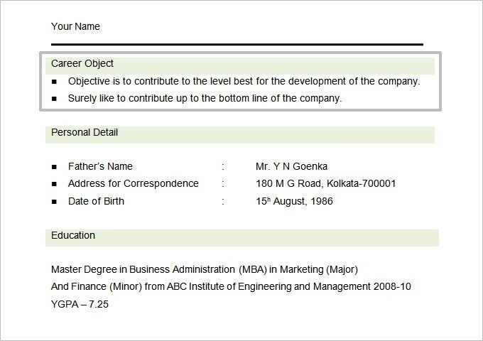 mba resume objective examples