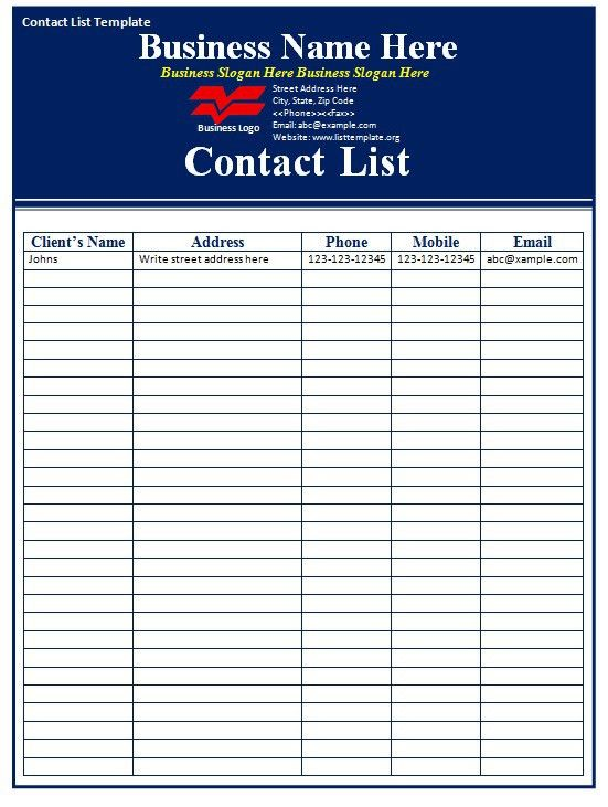 Contact List Template - Free Formats Excel Word