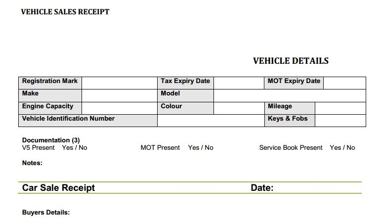 Used Car Sales Receipt Template Free | Flipping Cars