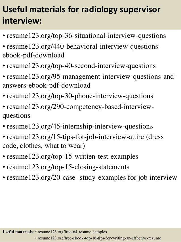 Top 8 radiology supervisor resume samples