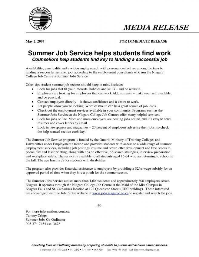 10 Writing A Summer Job Resume Resume sample resume for college ...