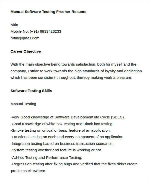 Good Resume Template For Software Testing. software test engineer ...