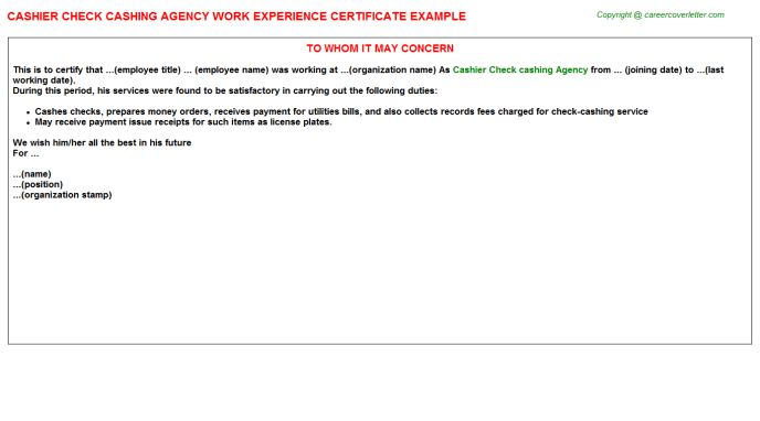Cashier Check Cashing Agency Work Experience Certificate