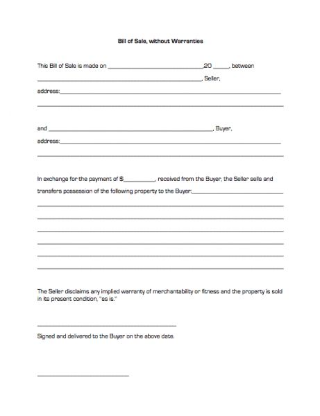 Bill of Sale, without Warranties | Business Forms