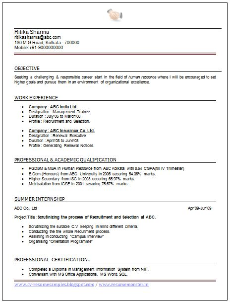 Charming Hr Resume Sample For Experienced 71 For Your Resume ...