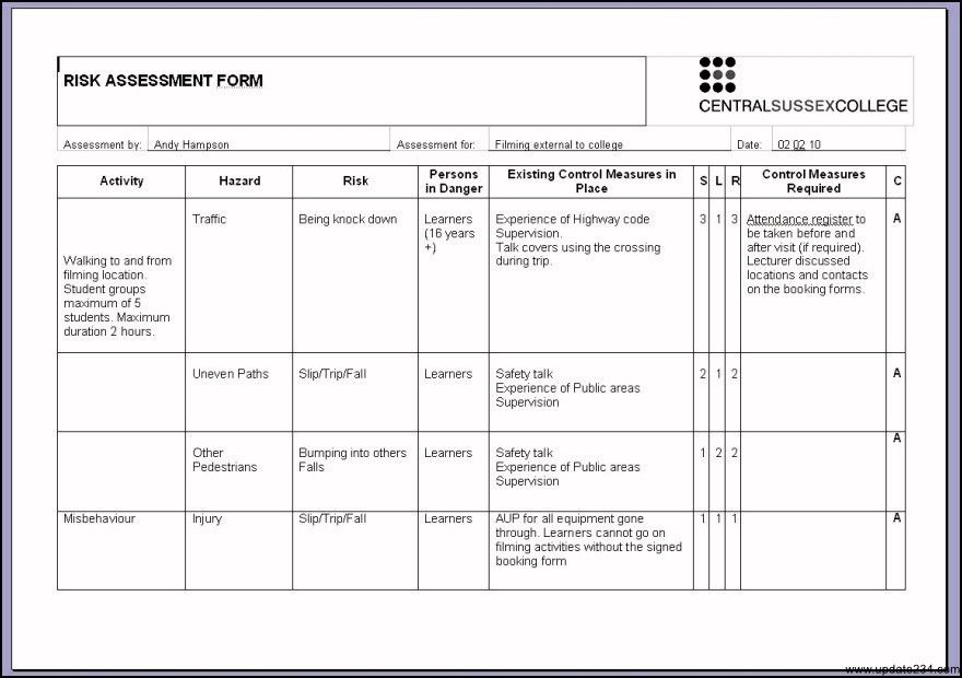 Risk Assessment Template Examples - Template Update234.com ...