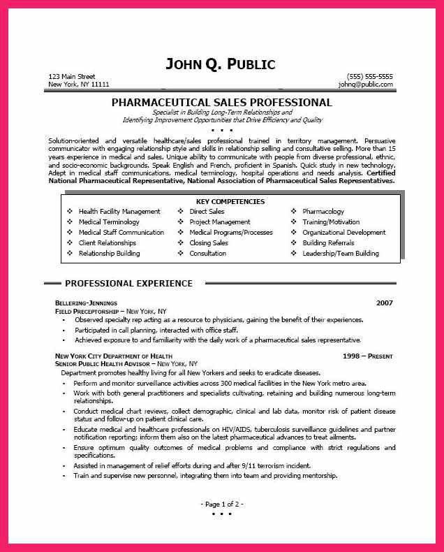 pharmaceutical sales resume | bio letter format