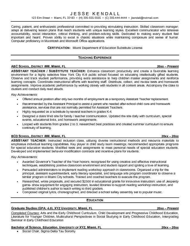 kindergarten teacher resume sample kindergarten teacher resume