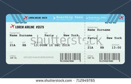 Vector Airplane Ticket Design Template Mock Stock Vector 712949785 ...