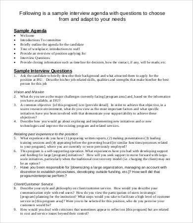 Interview Agenda Template - 8+ Free Word, PDF Documents Download ...