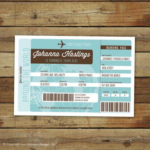 Airplane ticket birthday party invitation, Around the World ...