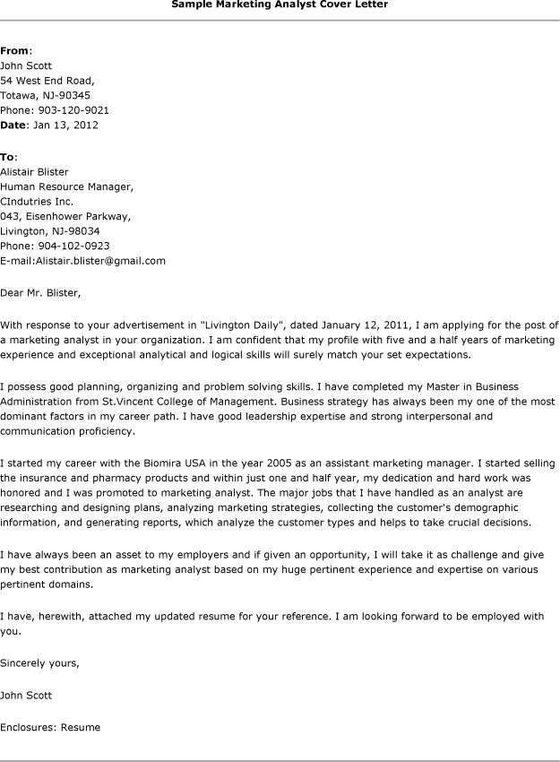 Cover letter for market research analyst - Cover letter for ...