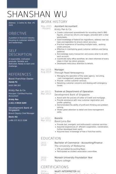 Assistant Accountant Resume samples - VisualCV resume samples database