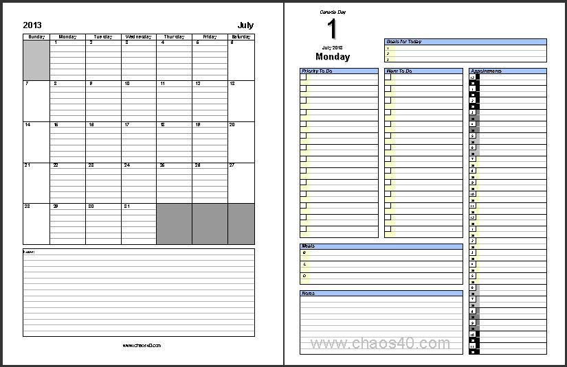 The Free July 2013 Daily Planner Full-Size Pages are Available to ...