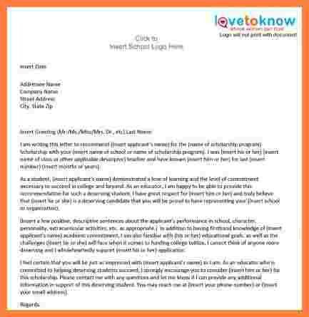 6+ high school scholarship recommendation letter sample   Appeal ...
