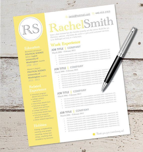 INSTANT DOWNLOAD - Resume Design Template - Microsoft Word ...