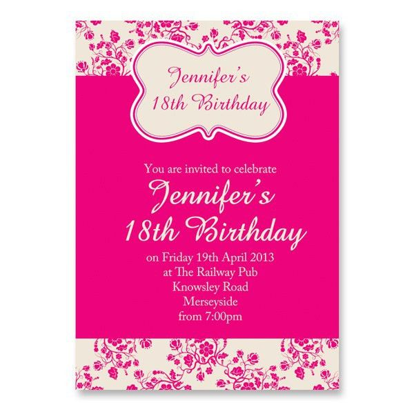 Birthday Invites: 18th Birthday Invitations Templates Free ...