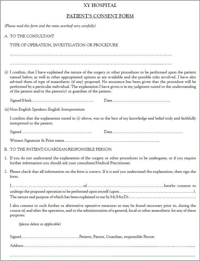 Consent To Treat Forms. Medical Consent Form For Grandparents ...