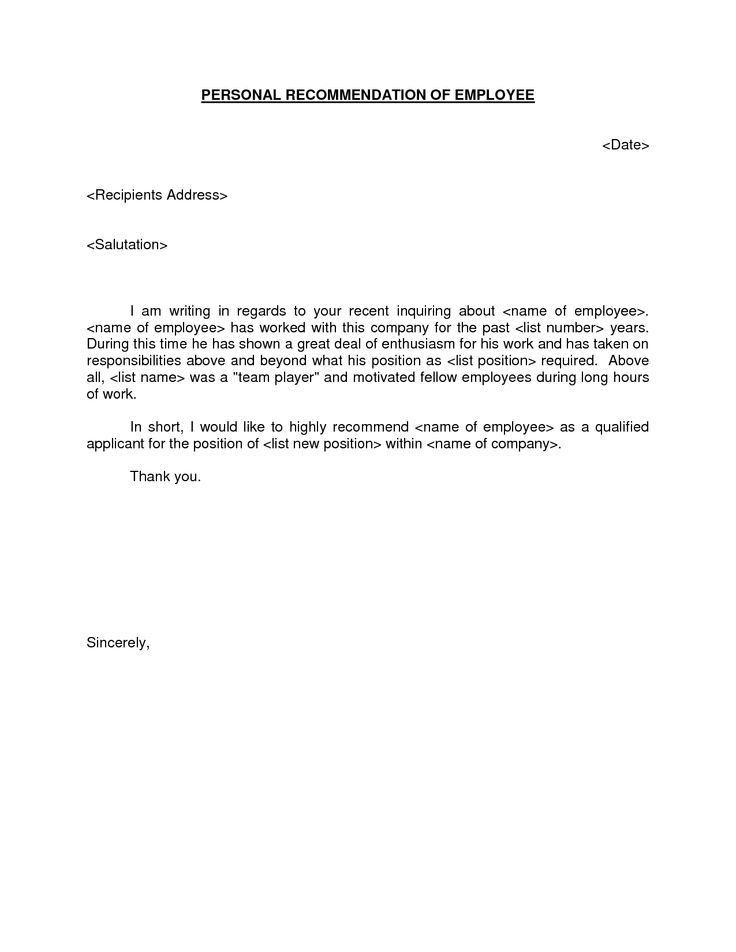Simple Reference Or Personal Recommendation Letter For School ...
