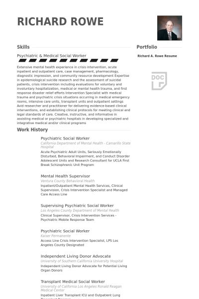 Social Work Resume samples - VisualCV resume samples database