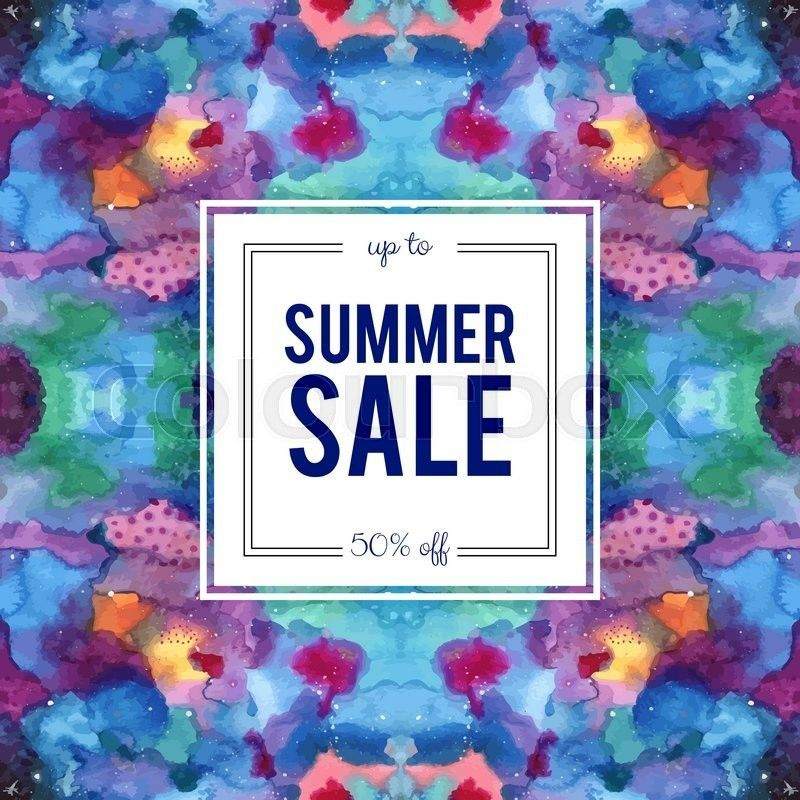 Summer sale sign on abstract cosmic kaleidoscope watercolor ...